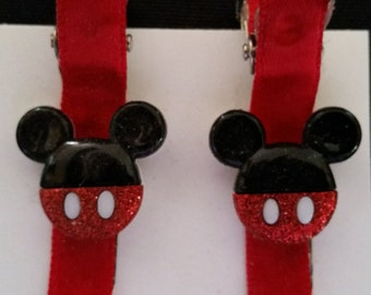 2 Red and Black  Mickey Mouse Hair Clips for girls or babies