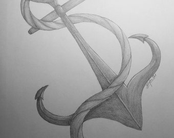 Anchor, Fine Art, One of A Kind, Graphite Drawing