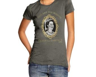 Women's God Bless Queen Elizabeth Ii  T-Shirt