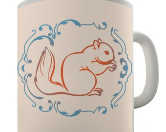 Squirrel Illustration Ceramic Novelty Mug