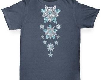 Boy's Headless Falling Snowflakes Rhinestone Diamante T-Shirt