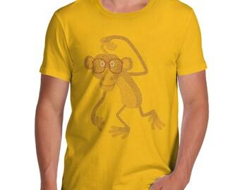 Men's Nerdy Hipster Monkey Rhinestone T-Shirt