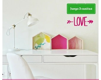 3 huts shelving in pink tone