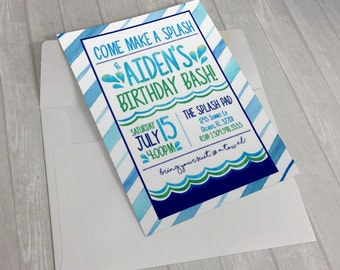 Summer Pool or splash pad Party Printable Invitation 5x7 or 4x6