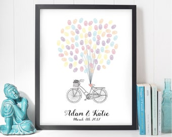Alternative Wedding thumb print guest book, bike Wedding Guestbook, Unique Custom Guest book, Wedding gift, Personalised customised book