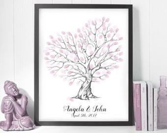 guest book ideas, finger print printable, wedding gift ideas, pink fingerprint tree, wedding thumbprint tree, thumbprint wedding tree print