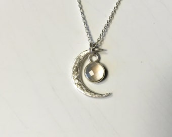 Hammered 925 Sterling and Moonstone necklace MADE TO ORDER