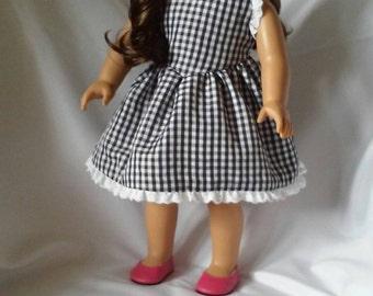 """Handmade White and Navy Gingham Dress for American Girl, 18"""" Dolls"""