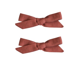School Girl Bow Pigtail Set in Rust Red Linen