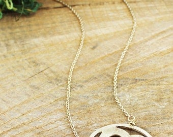 Gold Tone Clover Necklace and Earrings COMBO