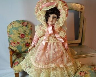 Victorian Porcelain Doll, Musical Porcelain Doll, Collectible, Vintage, Doll,