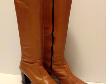 Leather Knee High Boots, Brown Bandolino Italian Made, Size 7