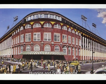 "Brooklyn Dodgers ""Outside Ebbets Field"" limited edition lithograph William Feldman Print Art Rare"