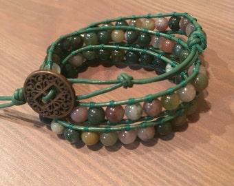 Indian Agate Jasper Green Wrap Bracelet