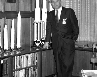 Dr. Wernher Von Braun in His Office at Marshall Space Flight Center w/ Models of Rockets in 1962 - 5X7, 8X10 or 11X14 - NASA Photo (EP-082)