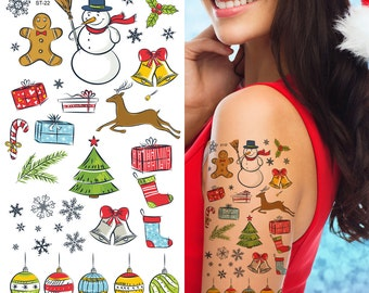 Supperb® Temporary Tattoos - Happy Holiday Merry Christmas Temporary Tattoo