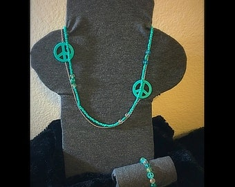 Turquoise Peace Necklace and Bracelet