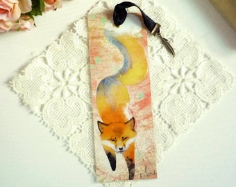 Handmade Fox Spirit - illustrated, laminated, bookmark