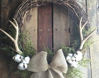 BEST SELLER! Antler Wreath, Cotton Wreath, Rustic Wreath, Farmhouse Decor, Fall Wreath, Winter Wreath