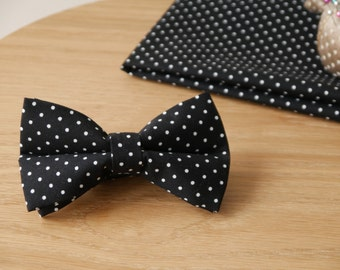 Men's Bow Tie, Bow Tie for Men, Black and White Polka Dot Bow Tie, Black with White Spots