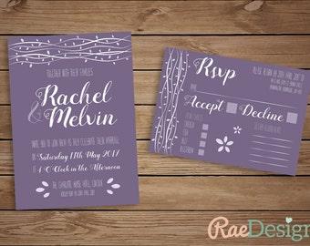 Printable Branches Purple Wedding Invitation and RSVP Set