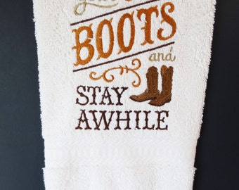 Banded Embroidered Hand Towel, Kick Off Your Boots