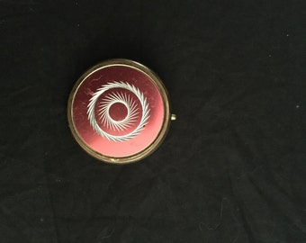Vintage Antique Pink & Gold Compact Pill Box. Free Shipping