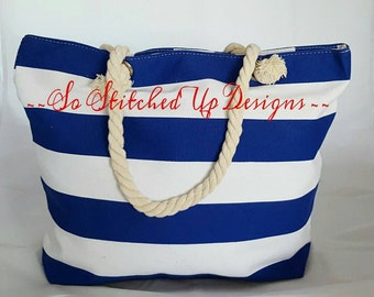 Royal Blue Striped Monogrammed Canvas Tote, Purse, Beach Bag!  Full Zipper Top/ Embroidered with Initial and your choice of thread color