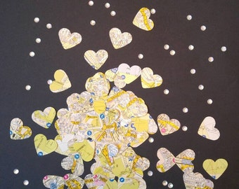 Wedding confetti, table confetti, map confetti, map art 150 per pack. Weddings abroad, overseas weddings, travel themed