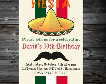 Fiesta Invitation,Fiesta Birthday Invitation, Cinco De Mayo Invitation, Mexican Party Invitation,Mexican Fiesta Party Invitations,Printable