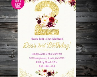 2nd Birthday Invitation,Second Birthday Invitation,2nd Birthday Invitation Girl, Girls Invitations,1st 2nd 3rd 4th 5th 6th 7th kids birthday