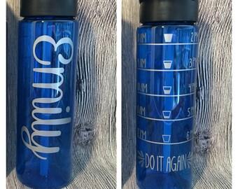 24 oz Water Bottle With Straw & Intake Tracker Water Bottle // Water Intake Tracker Bottle // Hydration Fitness Water Bottle