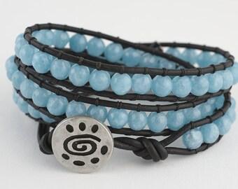 Wrap, Leather wrap bracelet, Triple wrap, Blue sponge quartz, leather bracelet, bracelet, beaded bracelet