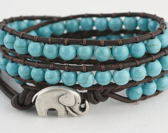 Beaded Leather wrap bracelet, Beaded bracelet, Turquoise, Women's bracelet, Leather, Wrap, Bracelet, Semi precious stones, leather wrap,boho