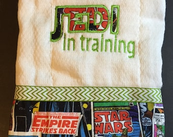 Baby Boy Gift, Baby Girl Gift, Jedi In Training, Star Wars, 3 Piece Baby Gift Set, Embroidered, Bib, Wash Cloth, Burp Cloth, Handmade