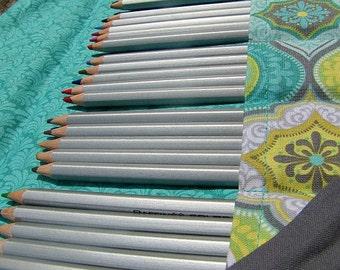 Pencil Roll,  Holds Up to 40 Pencils, Pencil Wrap, Colored Pencils, Aqua Pencil Case, Pencil Organizer, Pencil Mat, Pencil Storage
