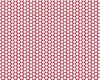 Quilting Fabric -White Honeycomb Dot on Red for Riley Blake Designs Basics (Yardage, 100% Cotton Quilting Fabric)