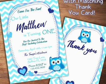 Owl Birthday Invitation, Boy First Birthday Invitation, Owl Invitation, 1st Birthday, 1st, 2nd, 3rd Boy Birthday Invitation, Printable