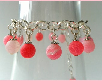 Bracelet pink cracked agate silver semi-precious stones