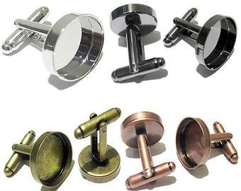 10PCS Cufflink Blanks With Round Bezel Setting Match 18mm Cabochon Brass Cufflink Findings