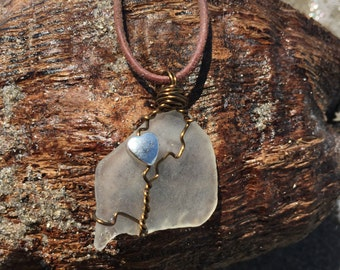 Bronze wire wrapped seaglass pendant/necklace