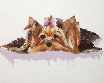 Yorkie, 24x18 Original Painting,Custom Yorkshire Terrier Portrait,Yorkie Art,White,Lavender,Brown,Tan,Handmade,Acrylic Painting,RescueArtco
