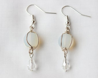 Translucent Crystal and Silver Earrings