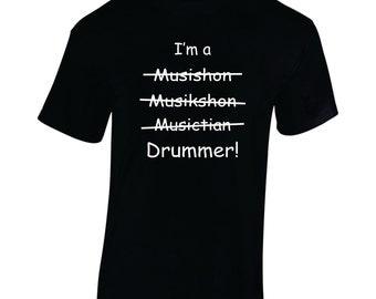 Musician Drummer shirt, Drums, Drumming, Music, Band,