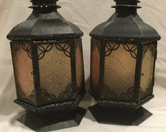 Vintage Tin Hanging Lanterns with Decorative Amber Glass