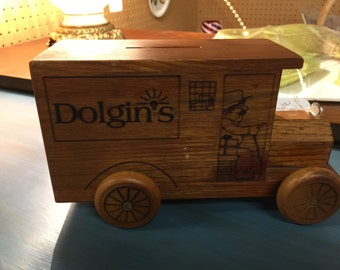 Toystalgia 1977 wood bank made for Dolgins