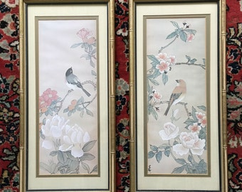 Asian Bird Prints with Faux Bamboo Frames, set of 2