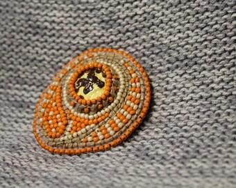 Bead embroidery brooch, orange beaded jewelry