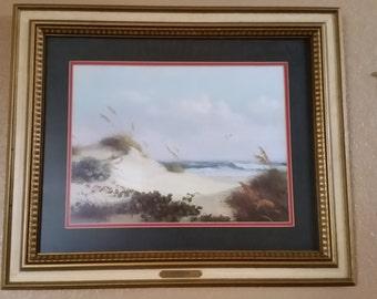 """Vintage 1971 DALHART WINDBERG """"Sand Dunes"""" Seascape Litho Framed Print"""
