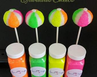 Beach Ball Cake Pops, Neon, pool party, Neon Birthday Party, Glow party